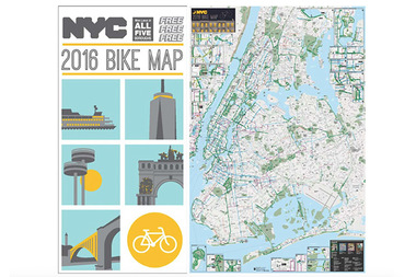 Bike New York Map.New 2016 Nyc Bike Map Includes 15 New Miles Of Protected Lanes City