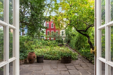 An image of the Macdougal Sullivan Gardens as seen from the townhouse for sale at 82 MacDougal St.
