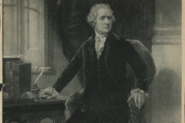 A portrait of Alexander Hamilton, who lived from 1755 to 1804, sitting down in his study.