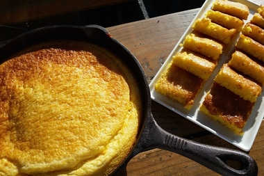 Cornbread cooked in a cast iron skillet at Butterfunk Kitchen, the soul food restaurant opening April 2 at 1295 Prospect Ave. in Windsor Terrace.