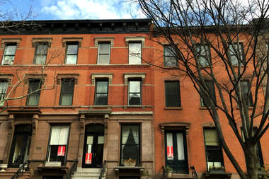 A brownstone-lined street in Cobble Hill.