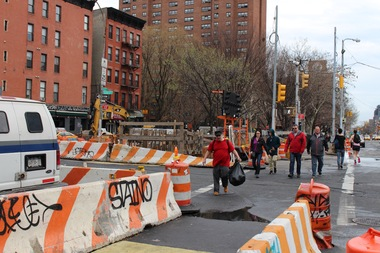 The construction on East Houston Street is three years behind schedule.