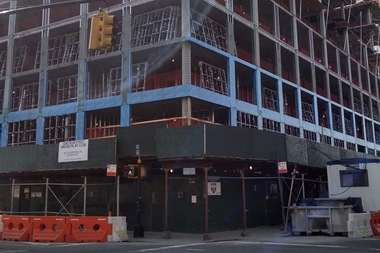 The new building at the corner of Dean Street and Franklin Avenue in Crown Heights has been under construction for about two years.