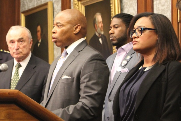 Trenelle Gabay, right, wife of Carey Gabay, who was fatally wounded during last year's J'Ouvert celebration in Crown Heights, stands with Police Commissioner Bill Bratton, Borough President Eric Adams and Councilmember Jumaane Williams to discuss changes planned for the annual event to make it safer.