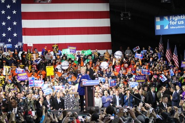 Presidential candidate Hillary Clinton speaks to a crowd at the Javits Center on March 2.