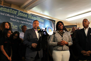 Sen. Jesse Hamilton, joined by Assemblywoman Latrice Walker and Brooklyn Borough President Eric Adams, announced the planned Fall 2016 launch of The Campus, a technology and wellness hub for Brownsville.