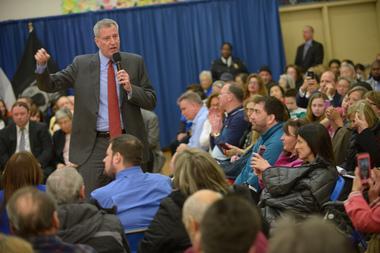 Mayor de Blasio at a town hall meeting in Queens in 2016.