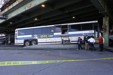 An MTA bus crashed into the overpass while driving on the FDR Service Road Monday, according to the FDNY.