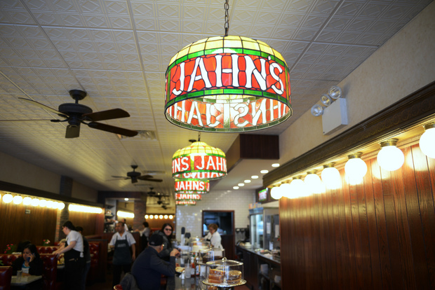 The renovation was inspired by vintage Jahn's, including the old booths, stained glass lamps and ceiling fans, owner Nick Moukas said.