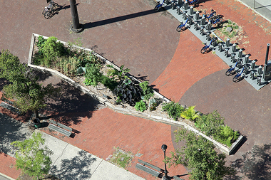 An aerial view of the Outer Seed Shadow garden in Manhattan.