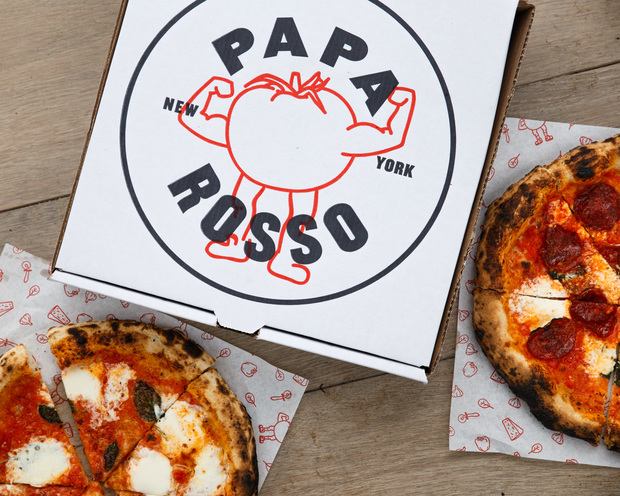 Pizza from Papa Rosso.