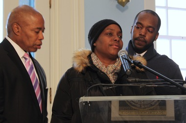 Glenn Grays's mother, Sonya Sapp, spoke for him at a press conference with Brooklyn Borough President Eric Adams, left, on March 22 in which Adams asked for an investigation of Grays' arrest in Crown Heights on March 17. Grays appeared on CBS This Morning Monday.