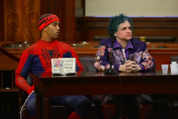 Spider-Man impersonator Abdel Amine Elkhezzani and The Joker Keith Albahae testify at a City Council hearing in March 2016.