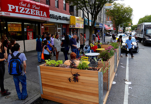 Public seating is making its way to the curb sides in front of a high-end Hell's Kitchen supermarket and a coffee shop under the High Line.
