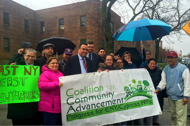 Assemblyman Erik Dilan joined residents at Arlington Village and the Coalition for Community Advancement on Thursday to call on the city to remove the 210-unit housing complex from the East New York rezoning plan.