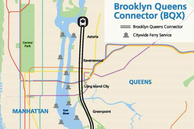 A map of the proposed Brooklyn-Queens Connector streetcar route as it would run in Queens.