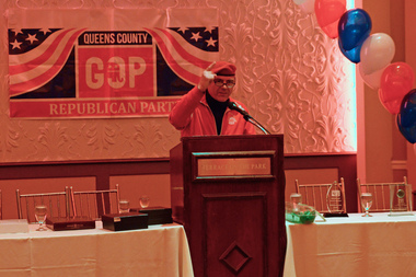Curtis Sliwa trashed his ex, Melinda Katz, at a spring gala for the Queens Republican party.