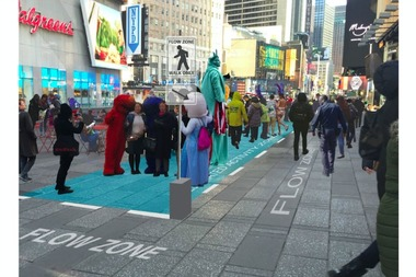 A draft artist's rendering of the designated activity zones and flow zones proposed for Times Square's pedestrian plazas.