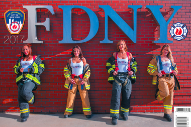 Jackie-Michelle Martinez, Marilyn Arroyo Jennifer Quinones and Michelle Campbell grace the cover of the first-ever all-women FDNY Calendar of Heroes.