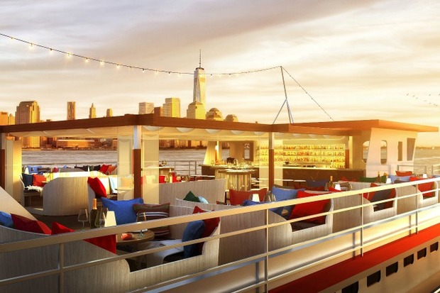 Floating seafood bar and eatery heading to pier 81 on the for Fish bar nyc