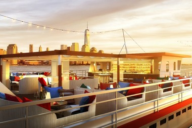 floating seafood bar and eatery heading to pier 81 on the