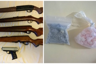 Police raided a Crown Heights apartment and seized guns and drugs Saturday morning.
