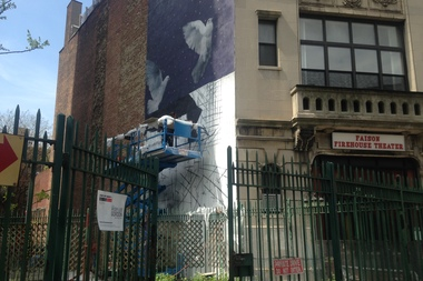 South African artist Ricky Lee Gordon painting his mural, which will be unveiled Monday for the Not A Crime campaign.