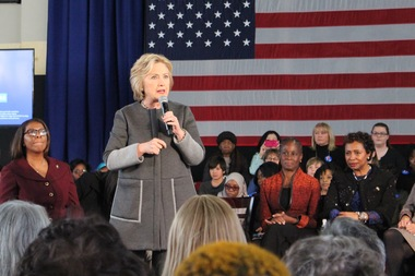 Hillary Clinton spoke at a rally at Medgar Evers College in April of last year during the 2016 campaign.
