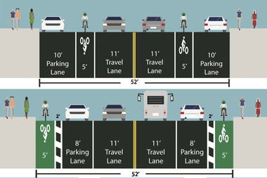 Jay Street is getting a curbside parking-protected bike lane between Sands and Fulton streets.