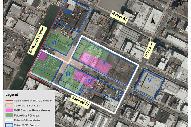 The U.S. Environmental Protection Agency has reached an agreement with the city to build an underground sewage tank on two privately owned pieces of property at 242 Nevins St. and 234 Butler St. (marked VI and VII on this map).