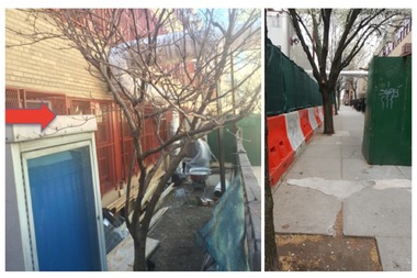 Photos showing the outside of the P.S. 145 and West Prep Academy building on West 105th Street. The picture at left shows where the gas meter regulator was slated to go under the original plan.