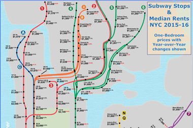 This Map From Renthop Shows The Median One Bedroom Rental Prices At Most City Subway