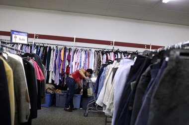 A shopper at a Salvation Army thrift store. The charity is renovating a Gowanus warehouse into a distribution center that will sort donations sold in its Brooklyn and Manhattan stores. Proceeds from the stores fund the Salvation Army's adult rehabilitation centers.