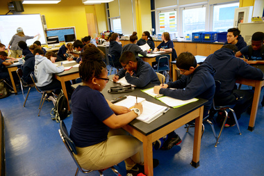 Students at a high school class at Scholars' Academy in Rockaway Park.
