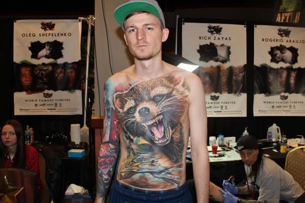 photos this guy tattooed the whole marvel universe onto his torso south ozone park new york. Black Bedroom Furniture Sets. Home Design Ideas