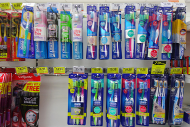 A thief stole more than $1,500 worth of toothbrushes from a Duane Reade at Columbus Circle, police said.