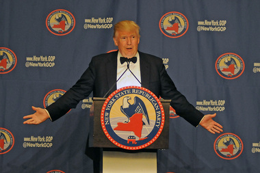 Donald Trump addresses GOP members at a Grand Hyatt Hotel gala on April 14, 2016.