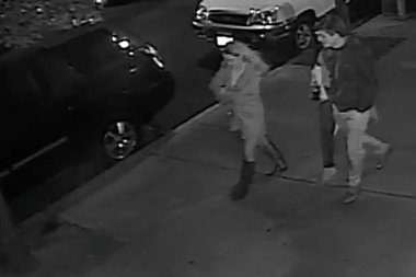 Police are looking for two women and a man were caught on surveillance video stealing a statue of Jesus from Saints Peter and Paul Church in Williamsburg.