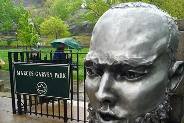 A public art installation at the entrance of Marcus Garvey Park called