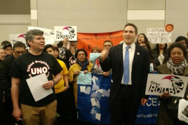 Council Member Ben Kallos with protesters at RGB meeting Tuesday.