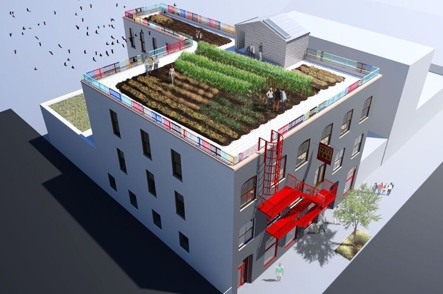 A bird's eye rendering of the renovated Gowanus Arts Building at 295 Douglass St.