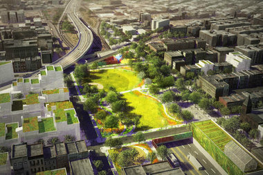 The BQ Green would extend over several blocks of the Brooklyn Queens Expressway ditch.