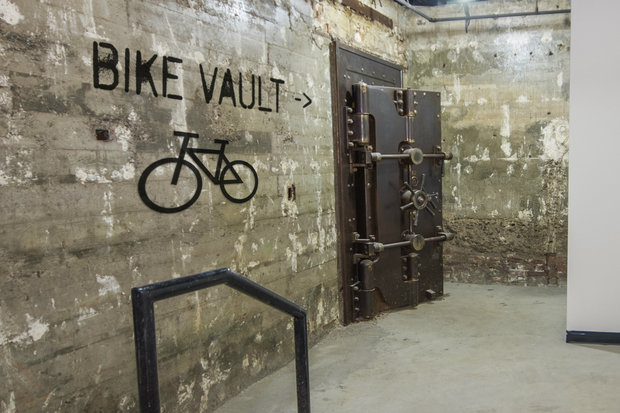 The former bank at 1024 Gates Ave. was converted into apartments, with a bike vault and gym in the basement.