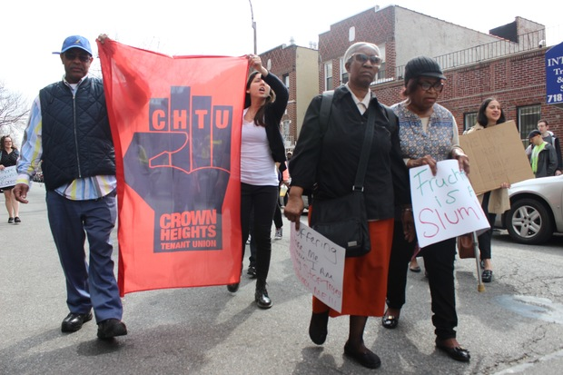 Members of the Crown Heights Tenant Union at a recent protest against a landlord on Carroll Street.
