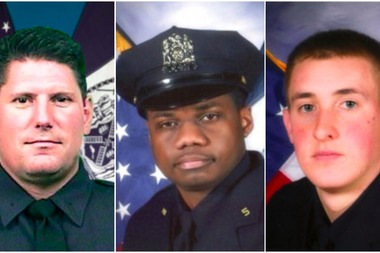 Detectives Joseph Lemm, Randolph Holder, center, and Brian Moore were honored at an annual ceremony for fallen officers at One Police Plaza last year.