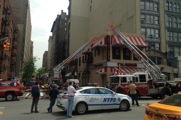 A fire broke out in Friday's on Union Square, officials said.