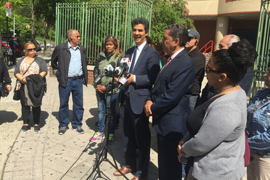 Elected officials joined parents and police officers Thursday morning to call an end to the school violence that recently injured several students and led to two arrests.