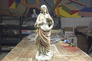 A statue of Jesus was found in a trash can a few hours after it was stolen from a Williamsburg church Saturday night.