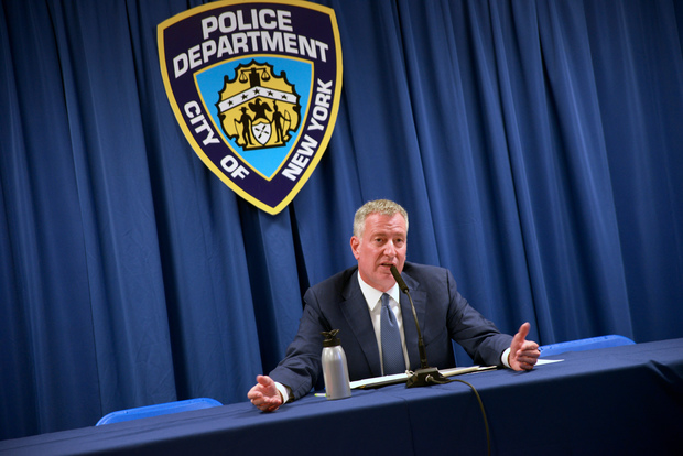Mayor Bill de Blasio said efforts to prevent the disciplinary records of police from being released is different than his efforts to prevent the release of email communications with advisers he has dubbed as