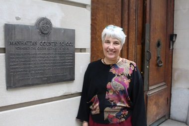Michèle Solá in front of the Upper East Side School.